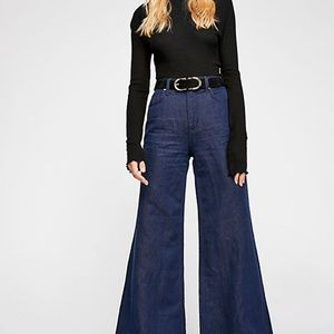 Free People High Waist Wide Leg Dark Jeans